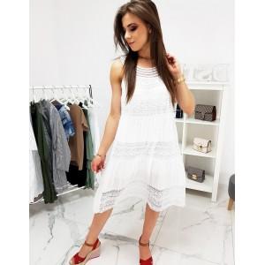 Bílé dámské plážové šaty oversize střihu s krajkou