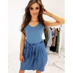 Modré dámské šaty na léto volného a prodloužený střih s kapsami