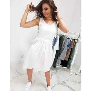 Originální dámské bílé letní šaty prodlouženého střihu a bočními kapsami