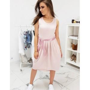 Krásné dámské letní šaty růžové s kapsami a saténovým páskem