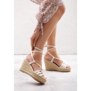 Dámské letní sandály na platformě v béžové barvě