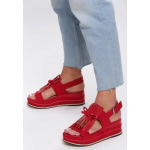 Červené dámské sandály na podpatku