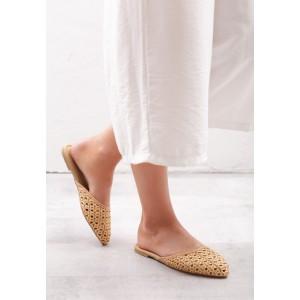Béžové dámské děrované pantofle