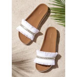Letní dámské pantofle s třásněmi v bílé barvě