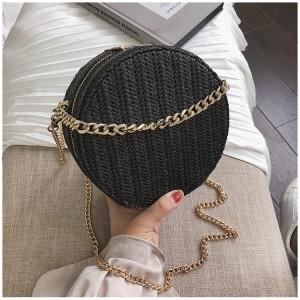 Dámská černá kabelka ze slámy v černé barvě