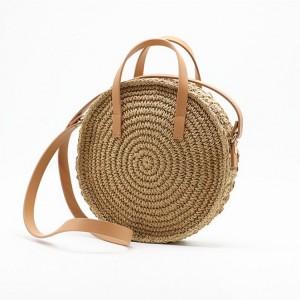 Pletená kabelka na rameno v béžové barvě
