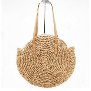 Dámská pletená kabelka v kulatém tvaru