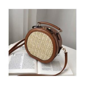 Pletená kabelka na rameno v hnědé barvě