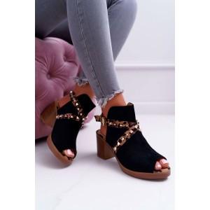 Dámské semišové sandály černé s designovými leopardími pásy