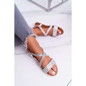 Stylové dámské stříbrné sandály se zirkony a vázáním na řemínek