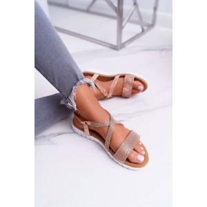 Dámské růžovo zlaté sandály s kamínky na nízké podrážce