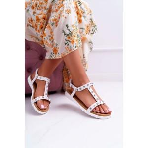 Originální dámské bílé sandály s vybíjancami a zirkony