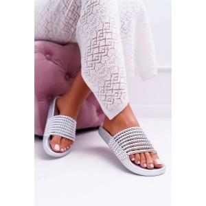 Trendy dámské stříbrné letní pantofle