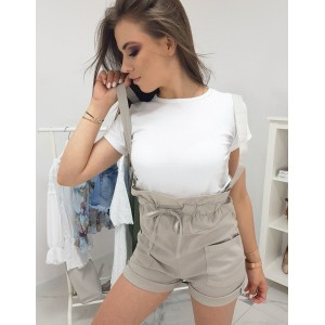 Stylový dámský set tričko a béžové kraťasy s vysokým pasem