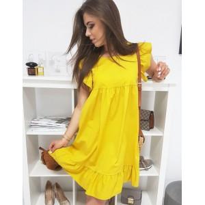 Moderní dámské šaty v módní jasno žluté barvě s volány