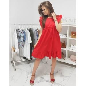 Trendy dámské oversize šaty červené barvy s volány