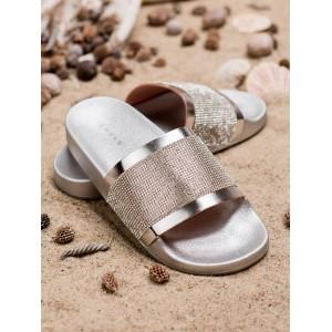 Stylové dámské stříbrné gumové pantofle na pláž s ozdobnými zirkony