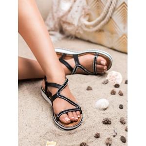 Elegantní dámské sandály nízké v černé barvě s ozdobnými zirkony