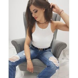Stylové dámské bílé tričko bez rukávů boxerského střihu