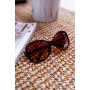 Módní dámské sluneční brýle v hnědé barvě