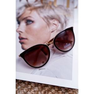 Stylové dámské brýle hnědo béžové se zlatými detaily