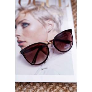 Moderní dámské sluneční brýle hnědé se zlatými rukojeťmi