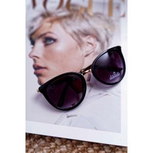Dámské sluneční brýle černé se zlatými rukojeťmi