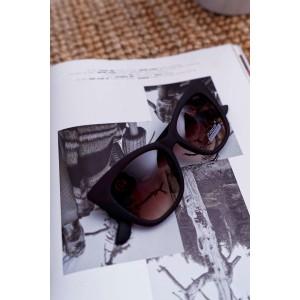 Hnědé matné dámské sluneční brýle ve tvaru kočky