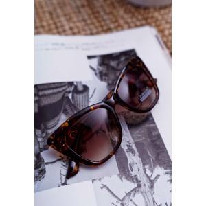 Stylové dámské sluneční brýle hnědo jantarové se zlatým detailem