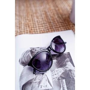 Černé dámské sluneční brýle s ozdobnou zlato barvenou ručkou