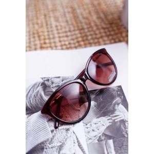 Moderní dámské hnědé brýle kočičího tvaru se stylovou rukojetí