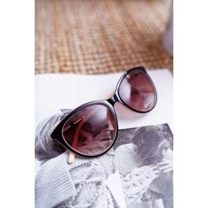 Dámské kočičí brýle černo béžové s trendy barevnými ručkami