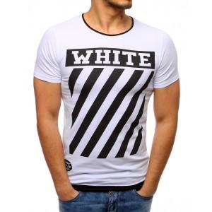 Pohodlné slim pánské tričko bílé s módním černým nápisem