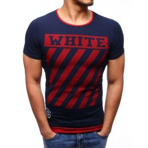 Trendy pánské tmavě modré tričko s červeným lemem a ukončením