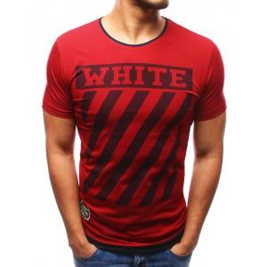 Stylové pánské bordové triko s krátkým rukávem a potiskem WHITE