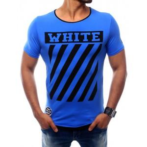 Pánské modré tričko s krátkým rukávem a s potiskem