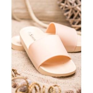 Moderní dámské gumové pantofle v béžové barvě