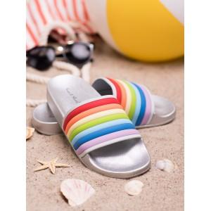 Imidžové dámské gumové stříbrné pantofle s vícebarevným designem