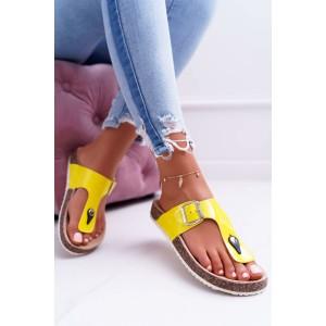 Neonově žluté dámské letní nazouváky na korkové podrážce