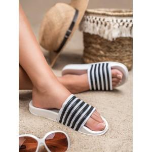 Plážové dámské bílé gumové pantofle s trendy černými pásy
