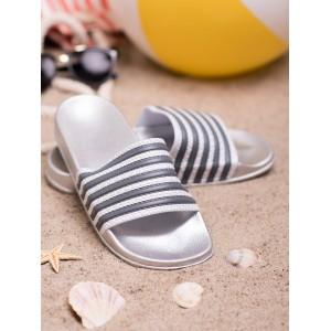 Originální stříbrno bílé dámské pantofle s designovými šedými pásy