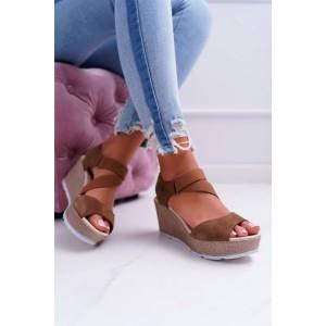 Luxusní hnědé dámské letní sandály na platformě s módním designem