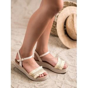 Módní dámské sandály hnědo béžové na platformě