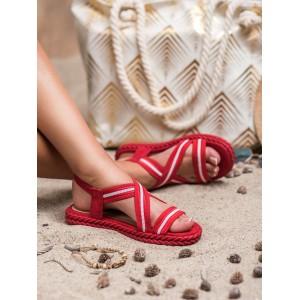 Originální dámské nízké červené sandály s ozdobným pletencem
