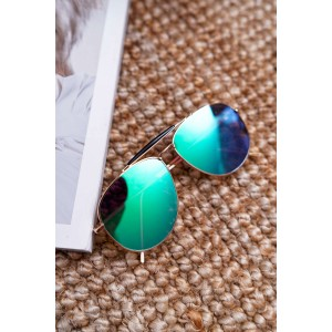Exkluzivní dámské sluneční brýle pilotky se zelenými skly