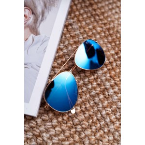 Dámské sluneční brýle pilotky s trendy modrými skly a zlatým rámem