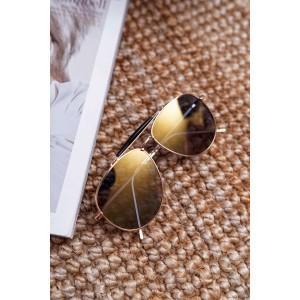 Trendy dámské sluneční brýle pilotky se žluto béžovými skly