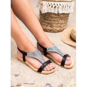 Trendy dámské černé pohodlné sandály s ozdobnými kamínky