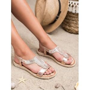 Luxusní dámské růžovo metalické sandály espadrilky se zirkony