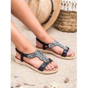 Originální dámské černé sandály espadrilky se zirkony
